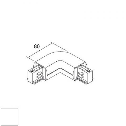 Външен L-конектор за релса LKM Round - бял