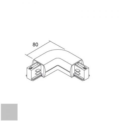 Външен L-конектор за релса LKM Round - сив